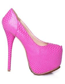 Image of Stampa rosa rosso tacco Toe mandorla serpente PU piattaforma pompe per le donne