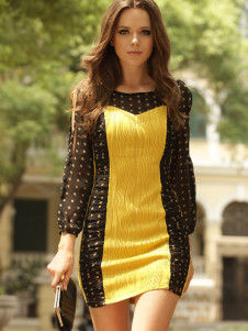 Polka Dot Jewel Neck Acrylic Womans Dress