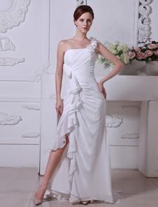 Свадебное платье A-силуэт без бретелек до пола из шифона с цветами