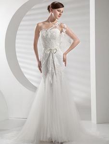 Свадебное платье A-силуэт без бретелек с церемониальным шлейфом из органзы