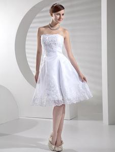 Свадебное платье A-силуэт без бретелек до пола из атласа с вышивкой