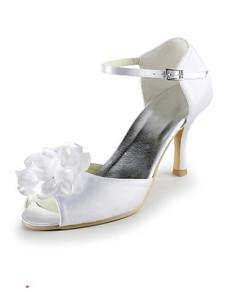 White Flower Peep Toe Satin Bridal Wedding Shoes