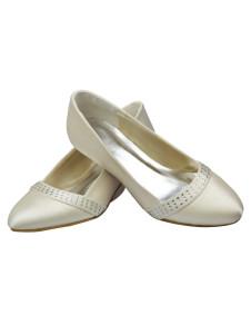 Ivory Rhinestone Kitten Heel Satin Bridal Wedding Shoes