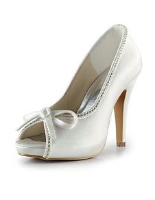 Ivory Platform Peep Toe Bow Satin Bridal Wedding Shoes