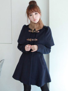 Sweet Royal Blue Toggle Synthetic Womans Coat