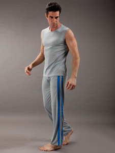 Image of Cool colore grigio pigiama poliestere senza maniche uomo di bloc