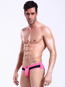 sweet-pink-color-blocking-spandex-mens-lingerie
