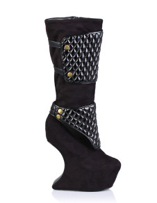 Black Special Shaped Heel Stretch Satin Sanding Womans Knee Length Boots