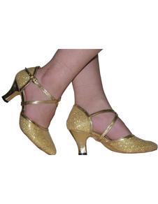 Image of Mandorla Spool Toe oro tacco Glitter latino scarpe di qualità