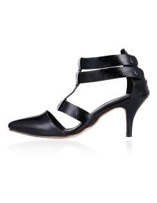 Nero punta Dress Sandals di punta T-Strap PU donna