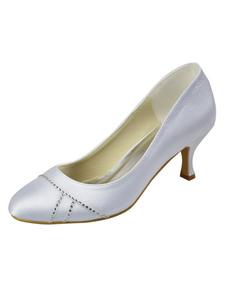 Classic White Rhinestone Round Toe Satin Bridal Wedding Shoes