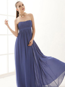 Sexy Royal Blue Pleated Polyester Strapless Womens Maxi Dress