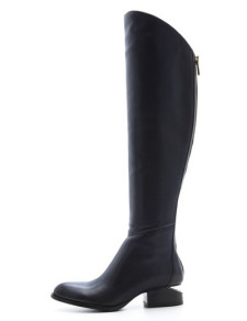 Sexy Black Sheepskin Knee High Length Womens Flat Boots