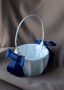 White Satin Blue Silk Ribbon Bow Flower Girl Basket