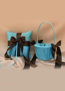 Blue Satin Coffee Silk Ribbon Flower Girl Basket And Ring Pillow