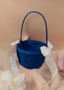 Royal Blue Satin White Silk Ribbon Bow Flower Girl Basket