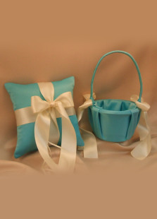 Blue Satin Ivory Silk Ribbon Flower Girl Basket And Ring Pillow