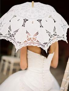 White Wedding Umbrella Lace Canopy Wood Handle Umbrella