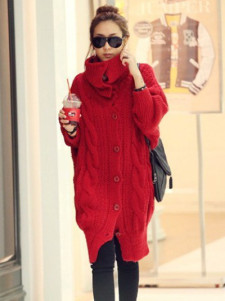 Trendy Red Knitted Wool Women's Coat