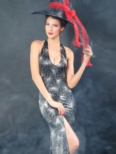 Halloween Acrylic Spandex Side Split Sexy Witch Costume