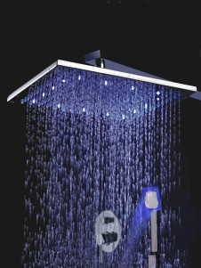 Stainless Handle Two Holes Color Changing Led Shower Set Panel With Hand Shower