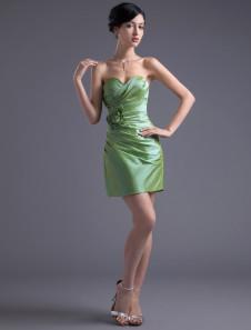 Sheath Sage Taffeta Floral Sweetheart Short Bridesmaid Dress