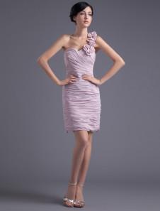 Sheath Pink Chiffon Floral OneShoulder Short Bridesmaid Dress