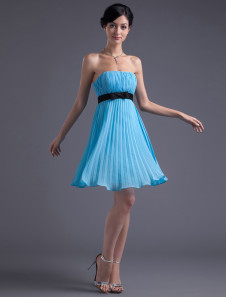 Empire Waist Blue Chiffon Bow Strapless Short Bridesmaid Dress