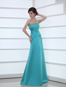 Strapless Evening Dress Turquoise Beading Satin Formal Dress Sheath Floor Length Long Prom Dress