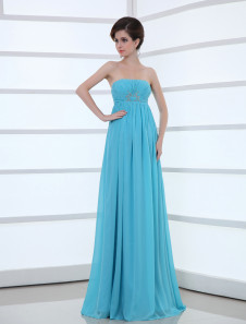 Chiffon Evening Dress Strapless Beading Empire Waist Formal Dress Floor Length Aqua Long Prom Dress