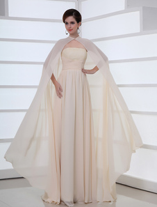 Chiffon Evening Dress 2 Piece Ivory Strapless Long Formal Dress With Cape