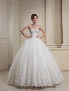 Белый возлюбленной вышитые шипованных тюль свадебное платье для невесты