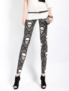 Halloween Black Leggings With Skeleton Print