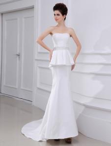 Слоновой кости Русалка Плиссированное платье из тафты свадебное платье для невесты