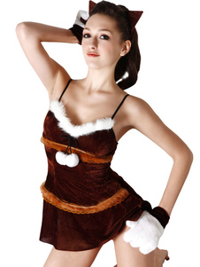 Sexy Burgundy Straps Womens Sexy Christmas Costume