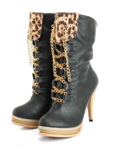 Milanoo UK  Green Stiletto Heel Leopard Print PU Woman's Mid Calf Boots