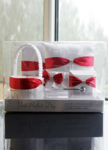 White 5pcs Satin Red Bow Wedding Collection Set