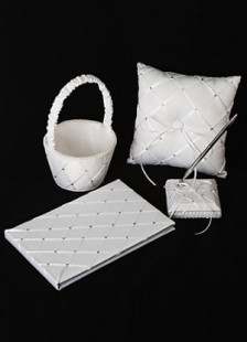White Grid Design 4pcs Wedding Collection Set