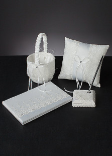 White 4pcs Bow Lace Wedding Collection Set
