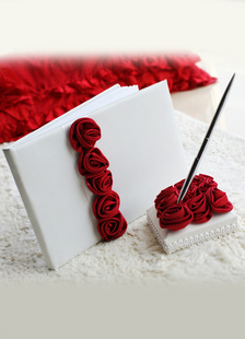 white-flowers-satin-wedding-guest-book-pens