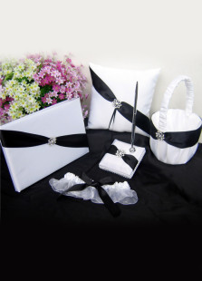 White Rhinestone Black Strap Wedding Collection Set