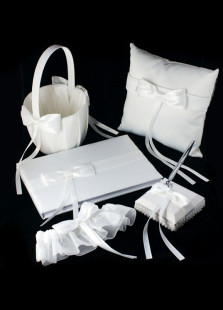 White 5pcs Bow Pearls Wedding Collection Set