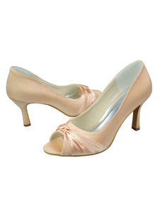 Champagne Pleated Knotted Satin Peep Toe Wedding Shoes