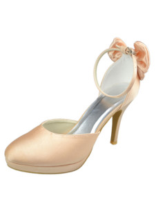 Champagne Ankle Strap Round Toe Satin Wedding Shoes