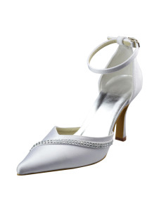 ankle-strap-pointed-toe-satin-wedding-shoes