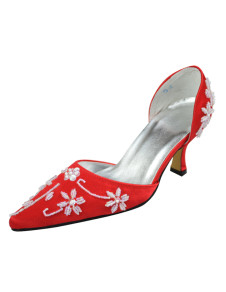 Red Pointed Toe Beading Satin Wedding Shoes