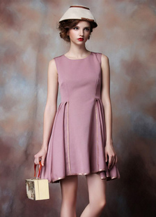 Sleeveless Cocktail Dress Cameo Pink Pleated Short Prom Dress Round Neck Mini Wedding Party Dress