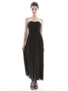 Black Sleeveless Pleated Lycra Spandex Maxi Dress Dress for Women