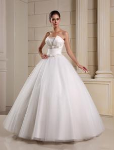 Vestido de boda de color marfil sin tirantes de línea-A