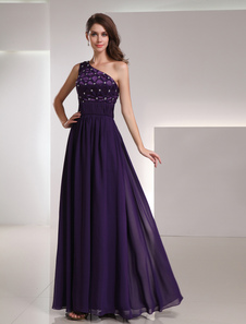 Chiffon Evening Dress Royal Purple One Shoulder Prom Dress Beading Sleeveless Floor Length Party Dress